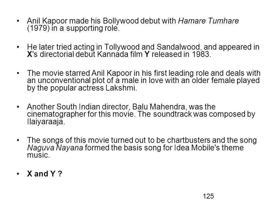 Anil Kapoor made his Bollywood debut with Hamare Tumhare (1979) in a supporting role.
