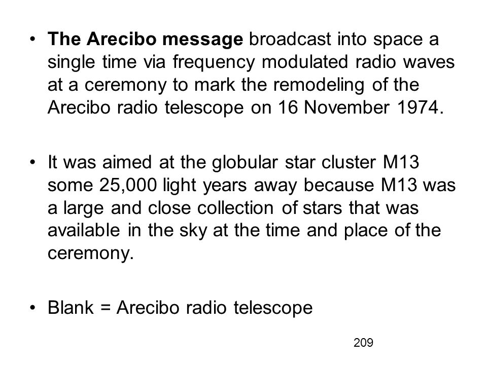 The Arecibo message broadcast into space a single time via frequency modulated radio waves at a ceremony to mark the remodeling of the Arecibo radio telescope on 16 November 1974.