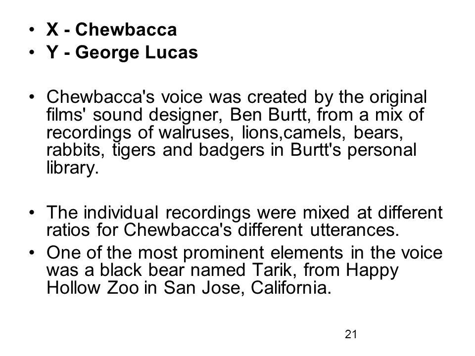 X - Chewbacca Y - George Lucas.