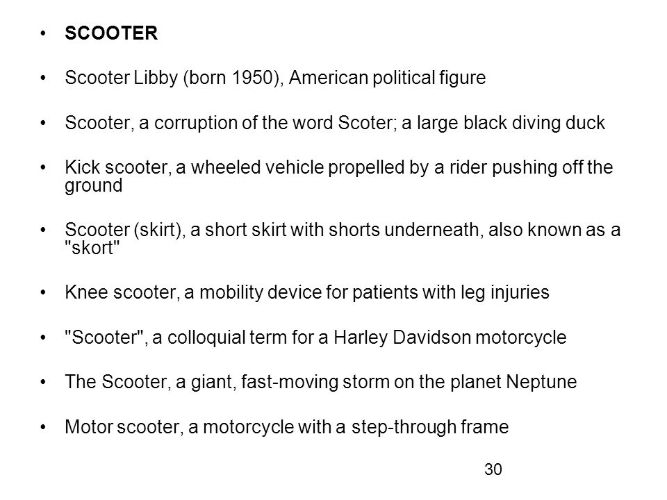 SCOOTER Scooter Libby (born 1950), American political figure. Scooter, a corruption of the word Scoter; a large black diving duck.