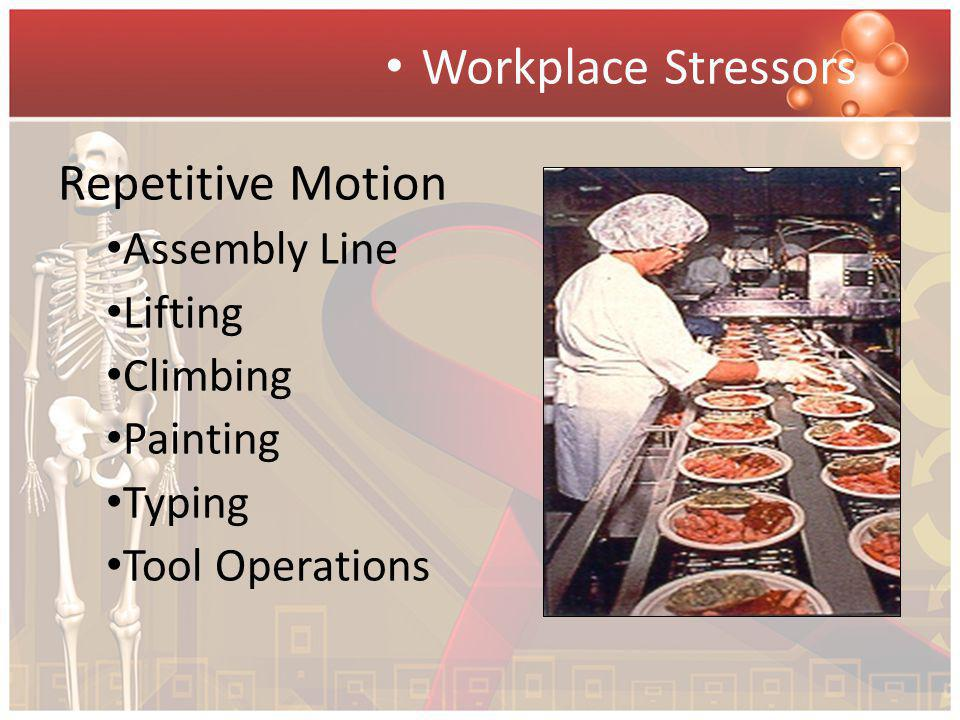 Workplace Stressors Repetitive Motion Assembly Line Lifting Climbing