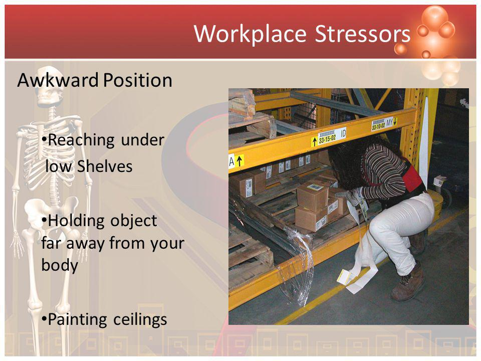 Workplace Stressors Awkward Position Reaching under low Shelves