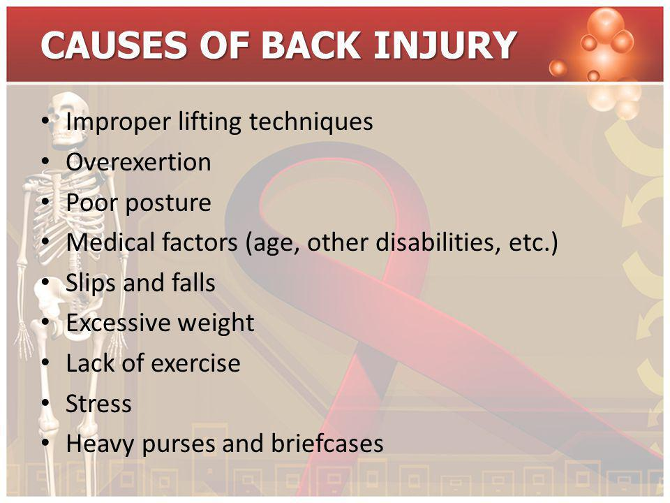 CAUSES OF BACK INJURY Improper lifting techniques Overexertion