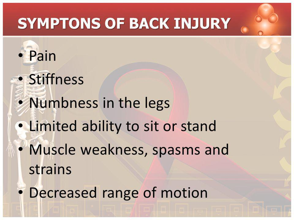 SYMPTONS OF BACK INJURY