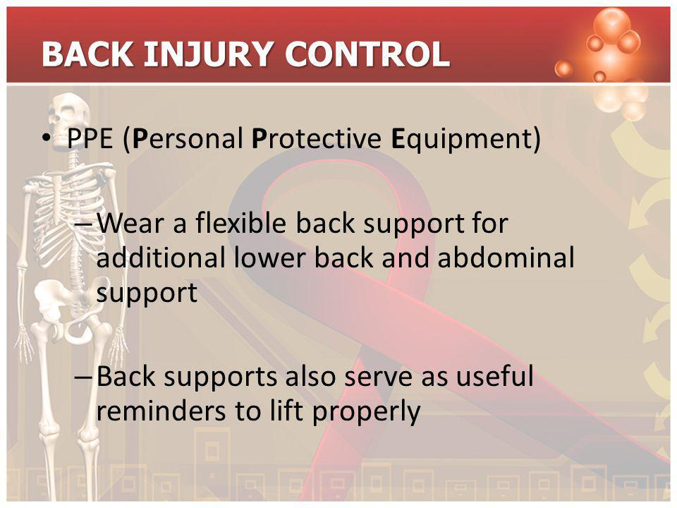 BACK INJURY CONTROL PPE (Personal Protective Equipment)