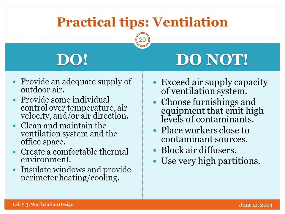 Practical tips: Ventilation