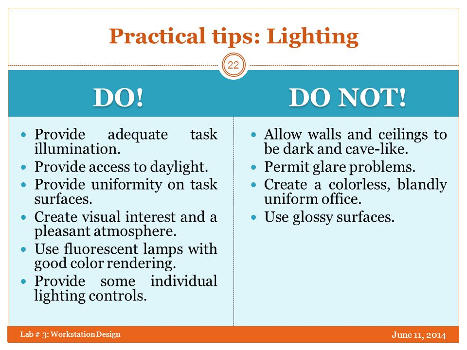 Practical tips: Lighting