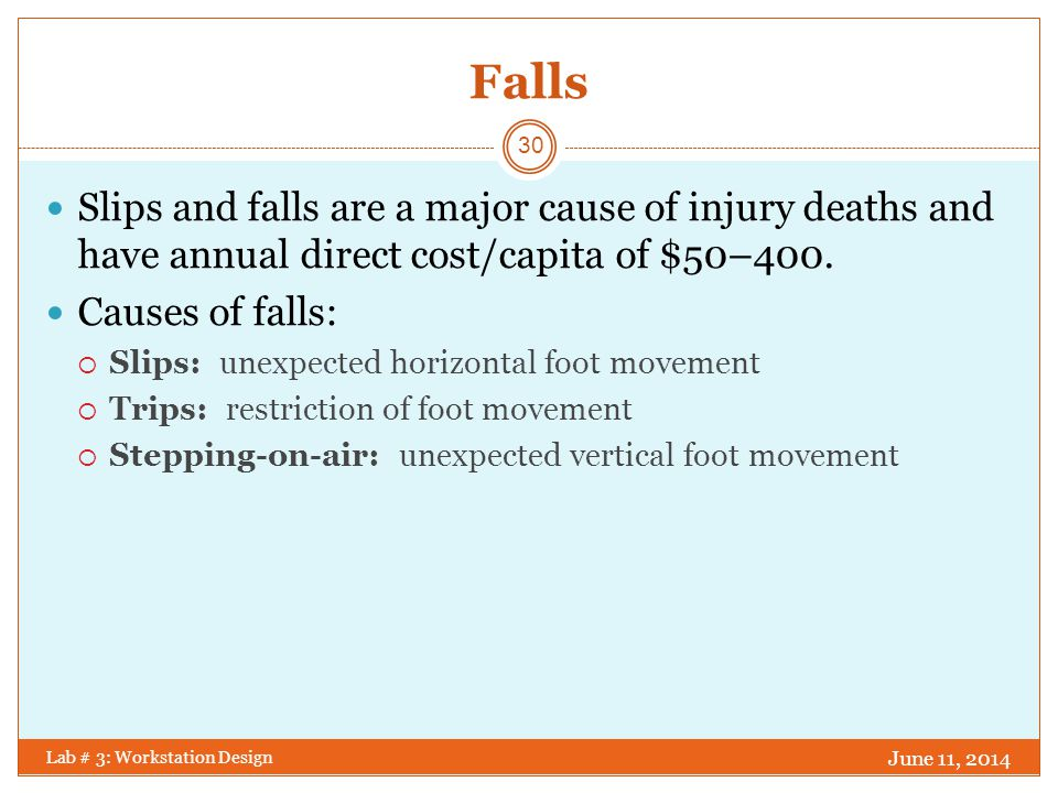 Falls Slips and falls are a major cause of injury deaths and have annual direct cost/capita of $50–400.