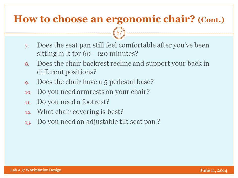 How to choose an ergonomic chair (Cont.)
