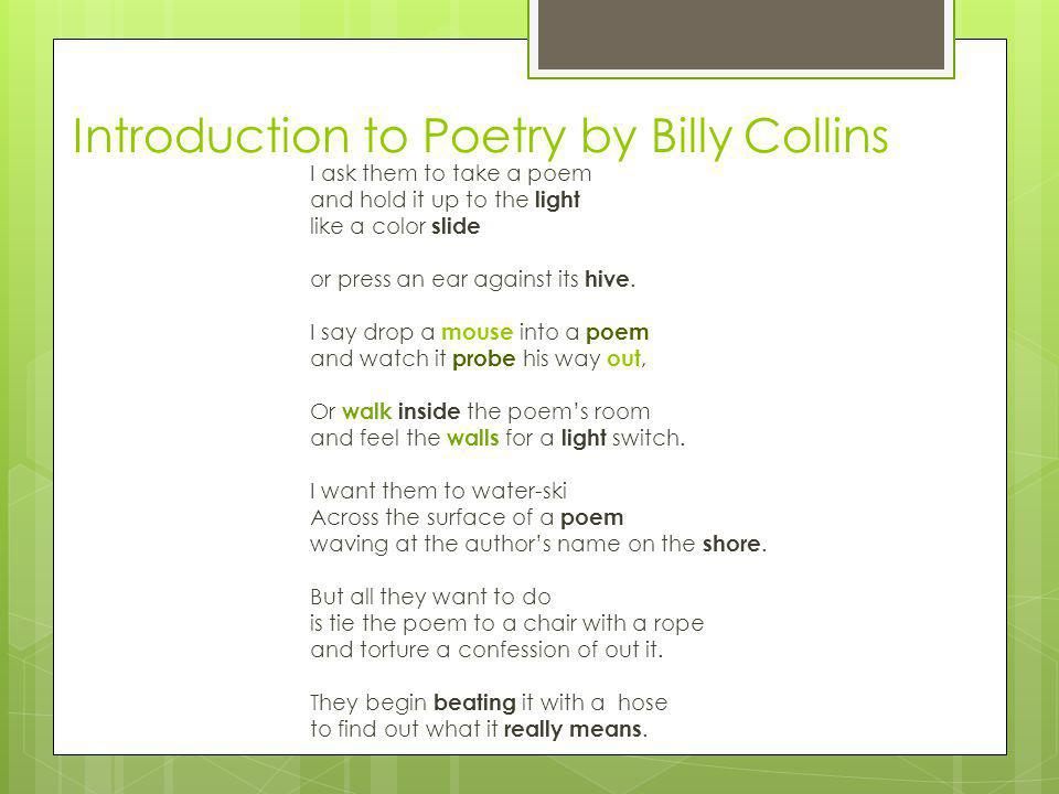 Billy collins introduction to poetry essay help