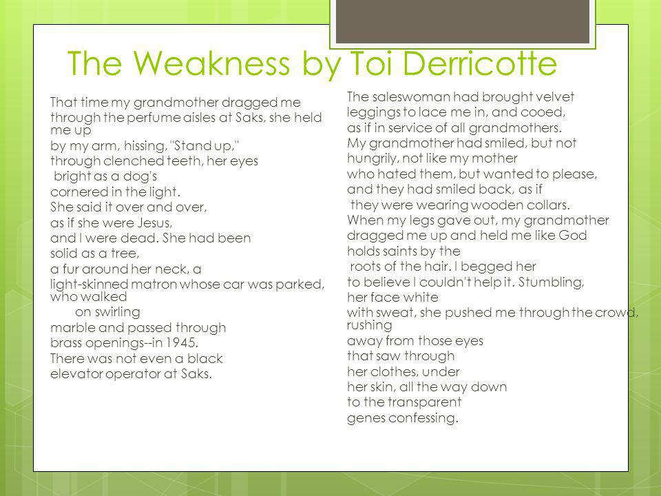 The Weakness by Toi Derricotte