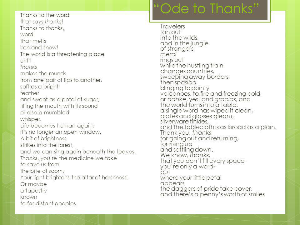 Ode to Thanks