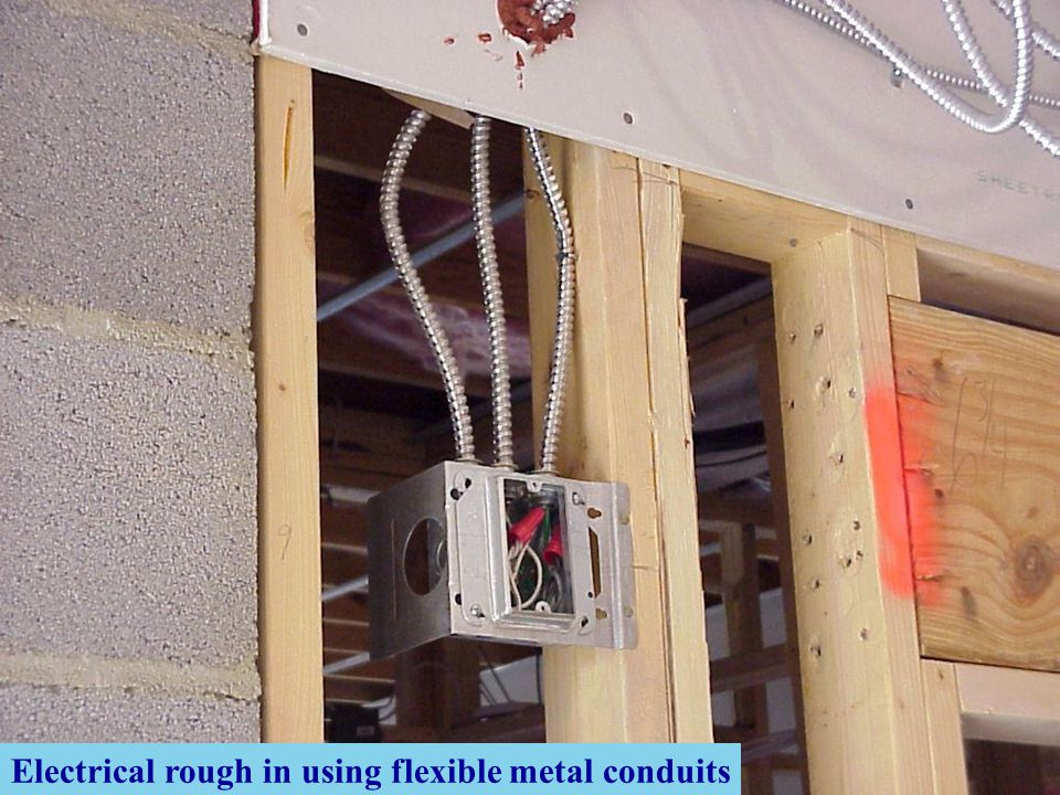 Electrical rough in using flexible metal conduits