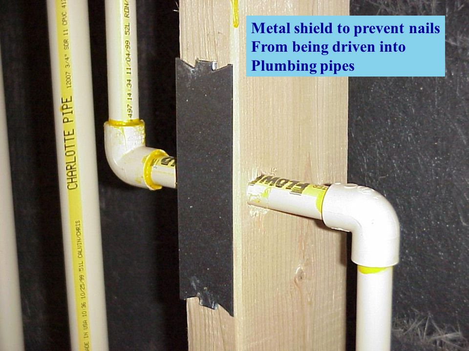 Metal shield to prevent nails