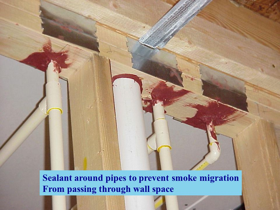 Sealant around pipes to prevent smoke migration