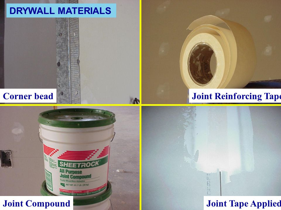 DRYWALL MATERIALS Corner bead Joint Reinforcing Tape Joint Compound Joint Tape Applied