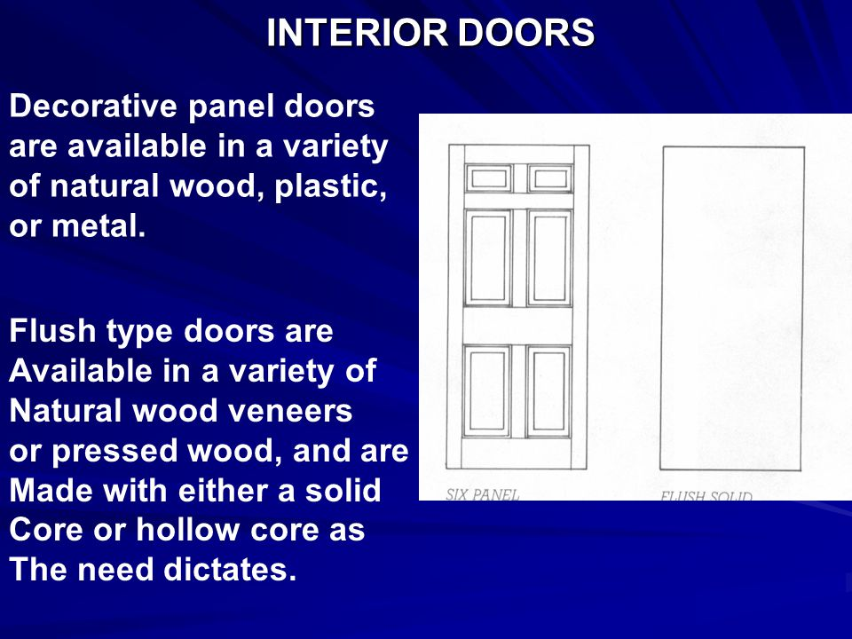 INTERIOR DOORS Decorative panel doors are available in a variety