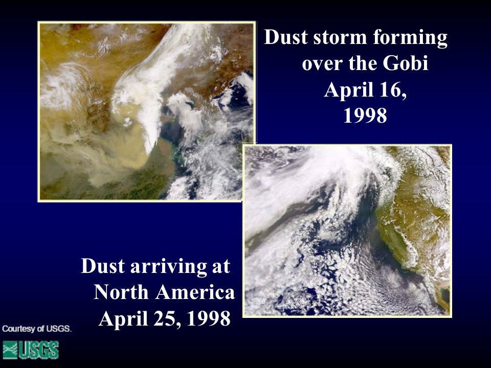 Dust storm forming over the Gobi April 16, 1998