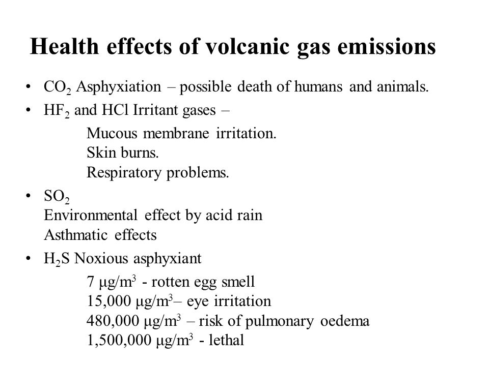 Health effects of volcanic gas emissions