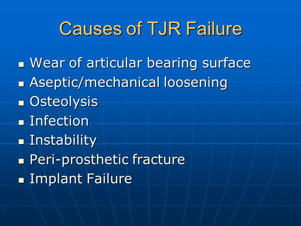 Causes of TJR Failure Wear of articular bearing surface