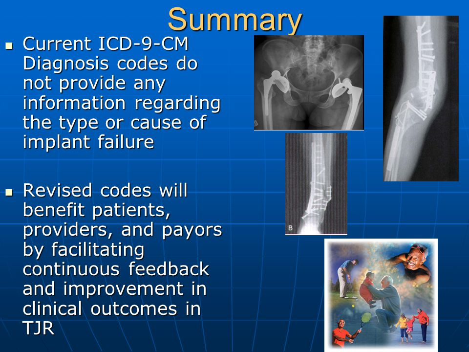 Summary Current ICD-9-CM Diagnosis codes do not provide any information regarding the type or cause of implant failure.