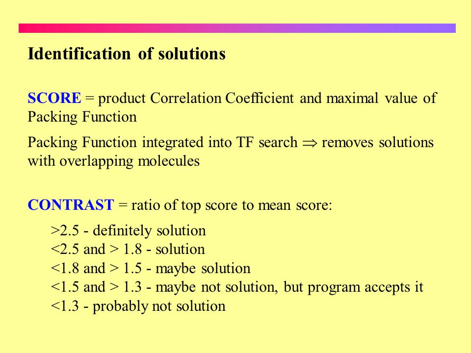 Identification of solutions