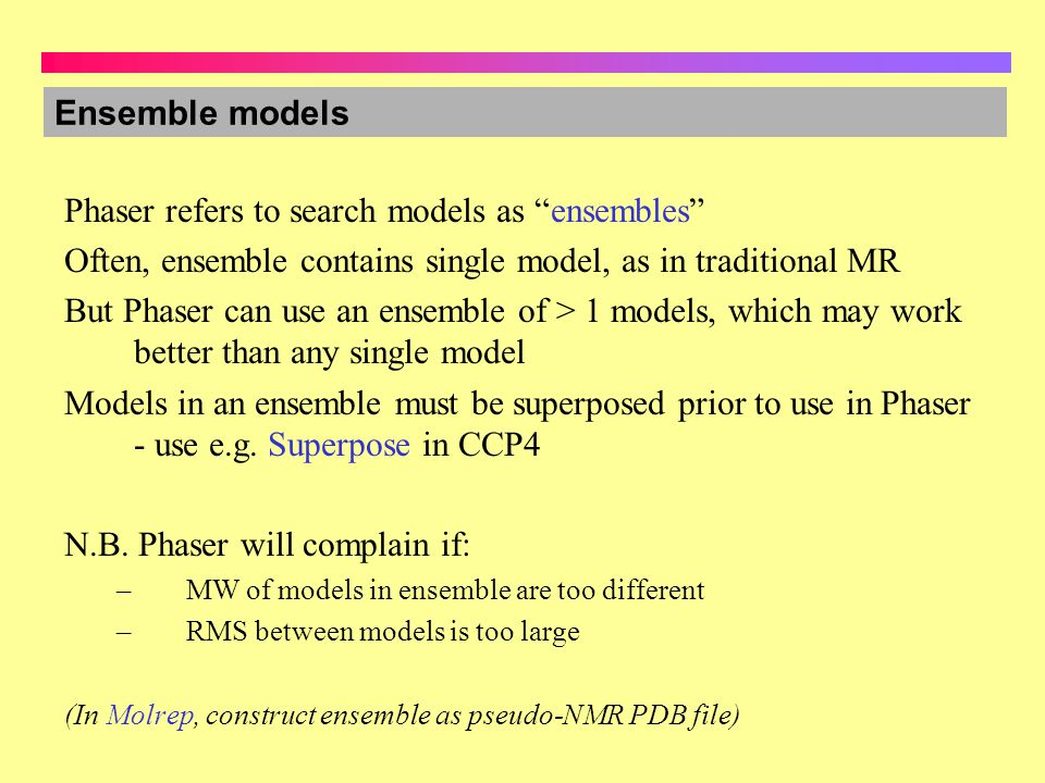 Phaser refers to search models as ensembles
