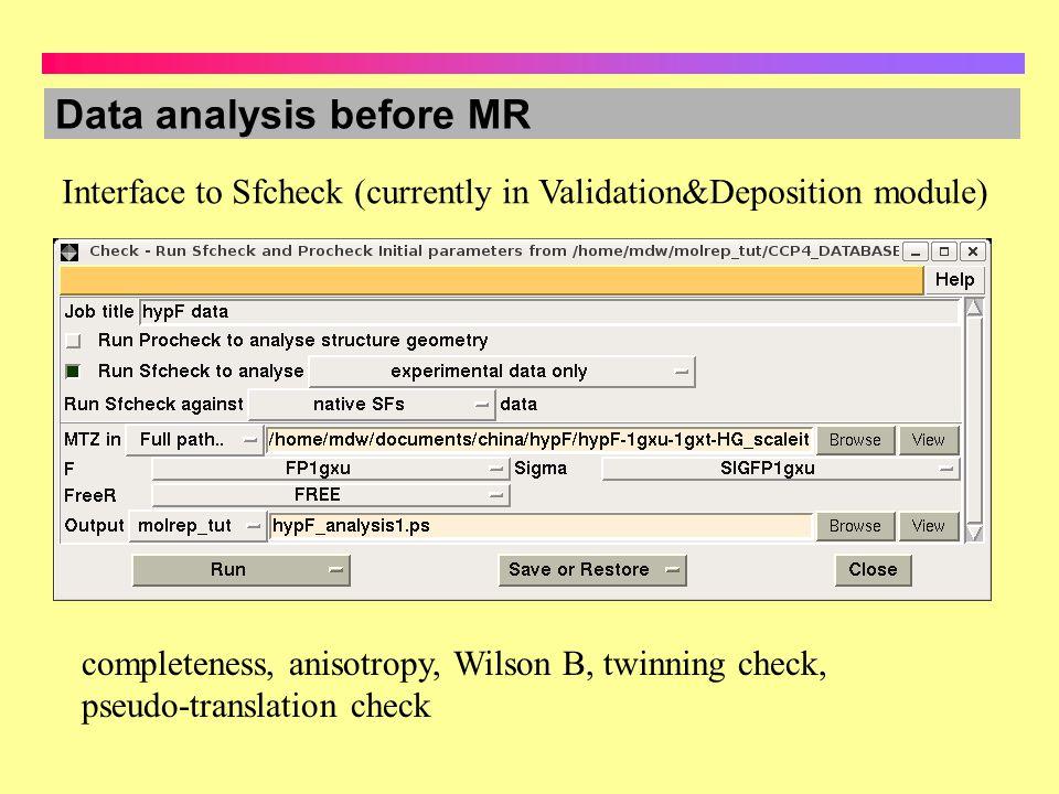 Data analysis before MR