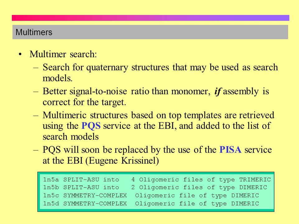 Search for quaternary structures that may be used as search models.
