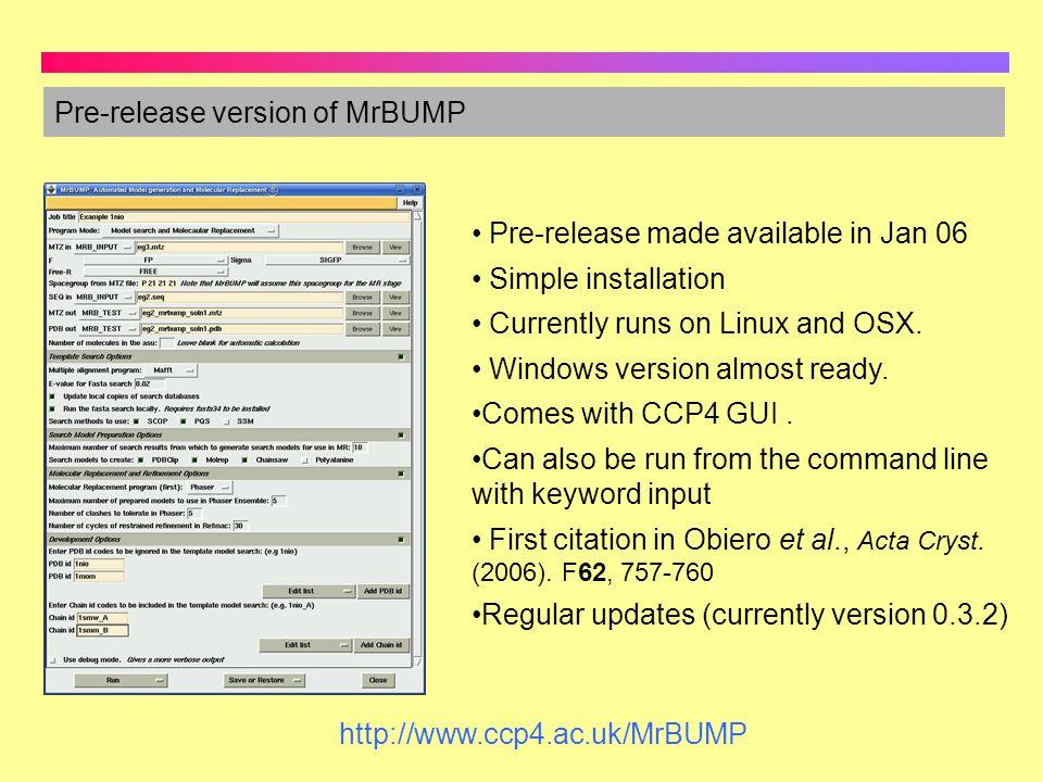 Pre-release version of MrBUMP