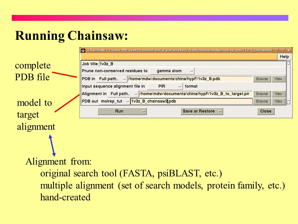 Running Chainsaw: complete PDB file model to target alignment