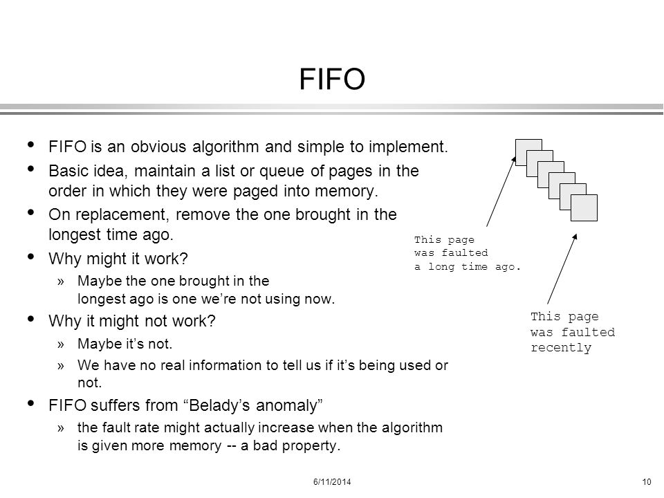 FIFO FIFO is an obvious algorithm and simple to implement.