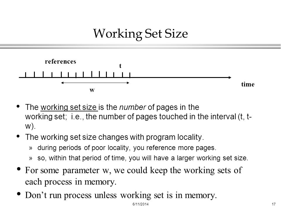 Working Set Size t. w. time. references.