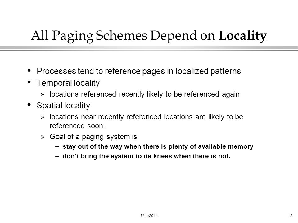 All Paging Schemes Depend on Locality
