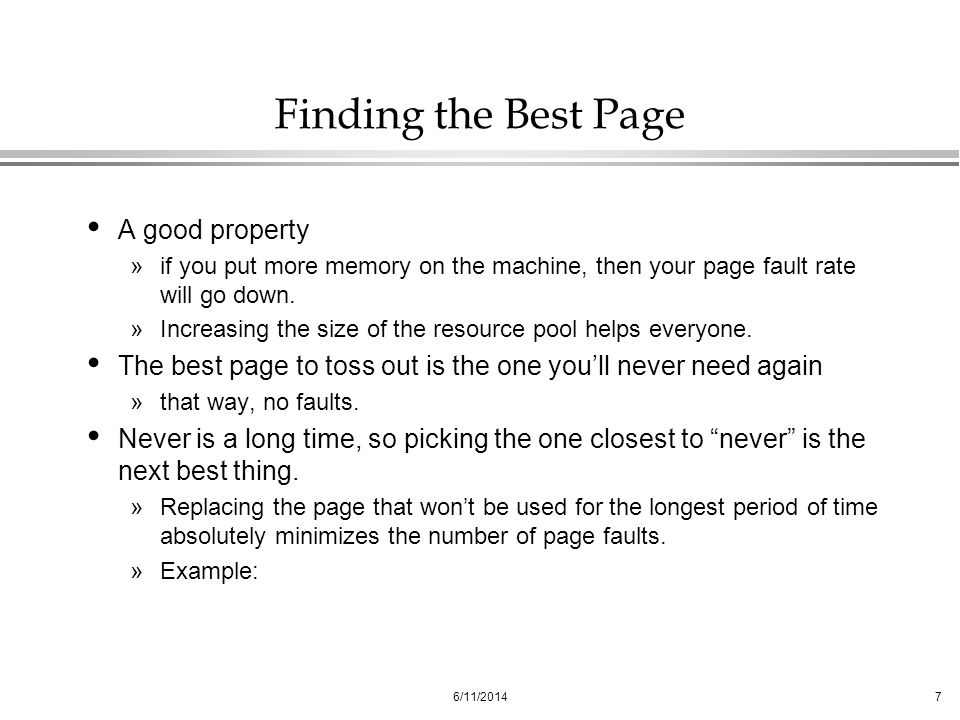 Finding the Best Page A good property