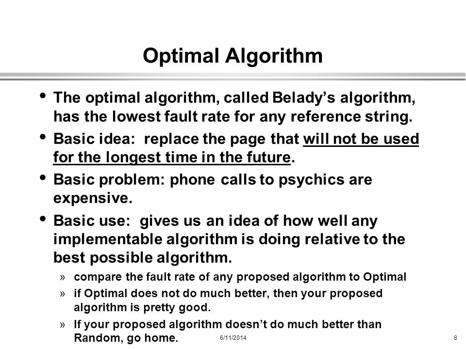 Optimal Algorithm The optimal algorithm, called Belady's algorithm, has the lowest fault rate for any reference string.