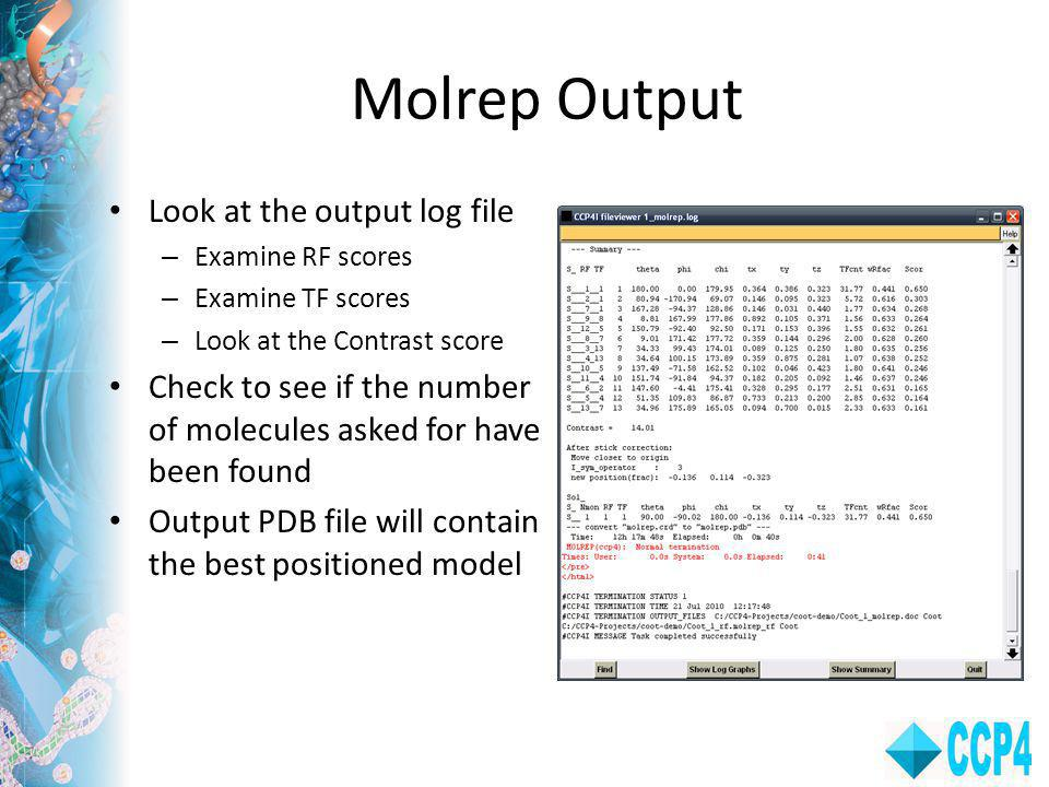 Molrep Output Look at the output log file