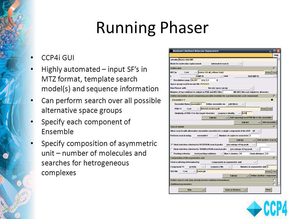 Running Phaser CCP4i GUI