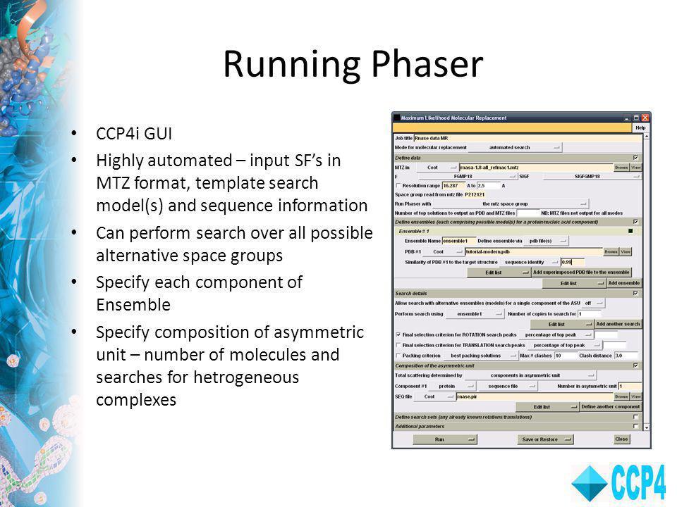 Running Phaser CCP4i GUI
