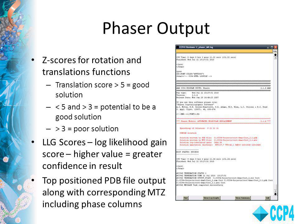 Phaser Output Z-scores for rotation and translations functions