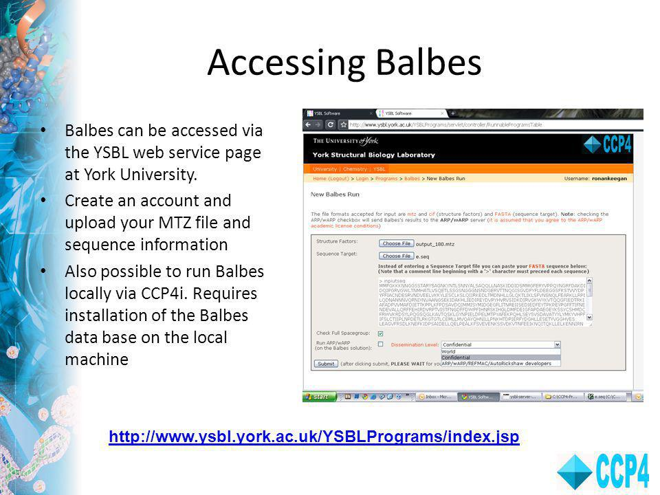 Accessing Balbes Balbes can be accessed via the YSBL web service page at York University.