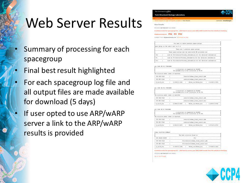 Web Server Results Summary of processing for each spacegroup