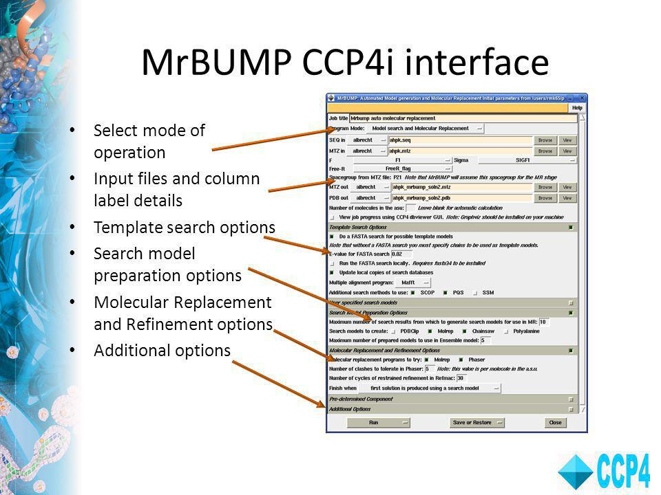 MrBUMP CCP4i interface Select mode of operation