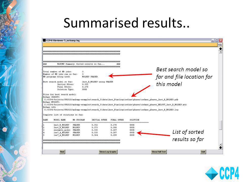 Summarised results.. Best search model so far and file location for this model.