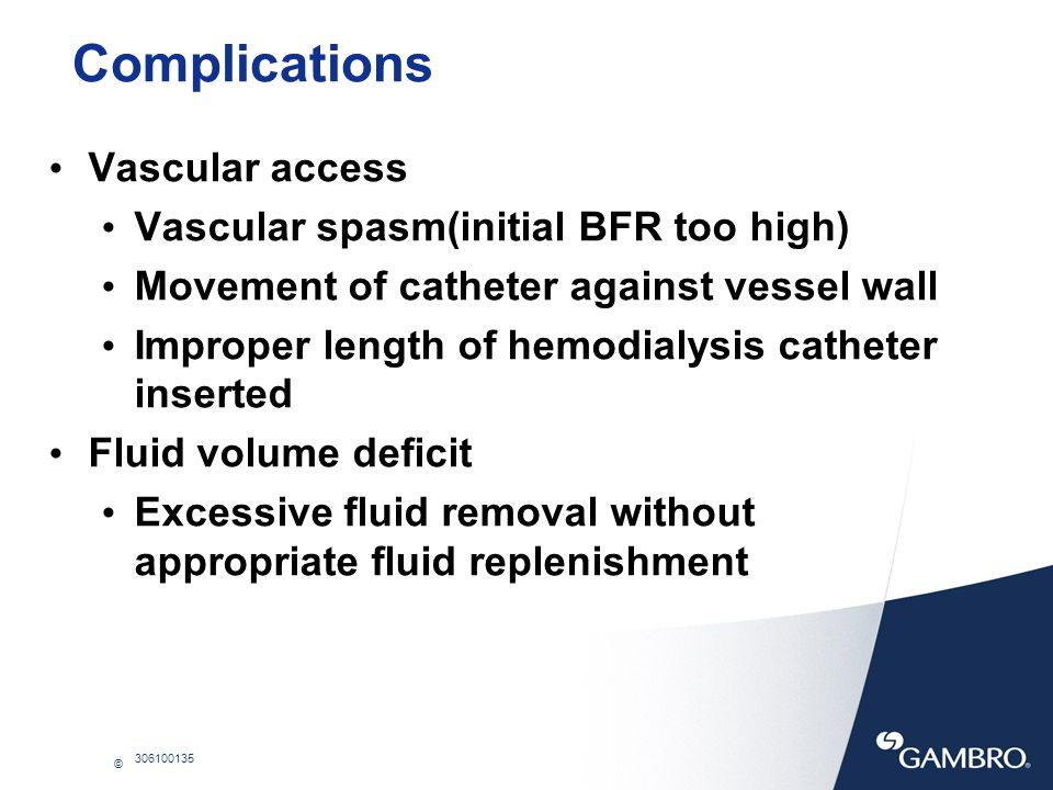 Complications Vascular access Vascular spasm(initial BFR too high)