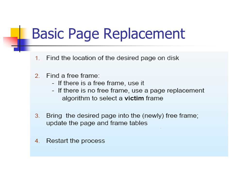 Basic Page Replacement