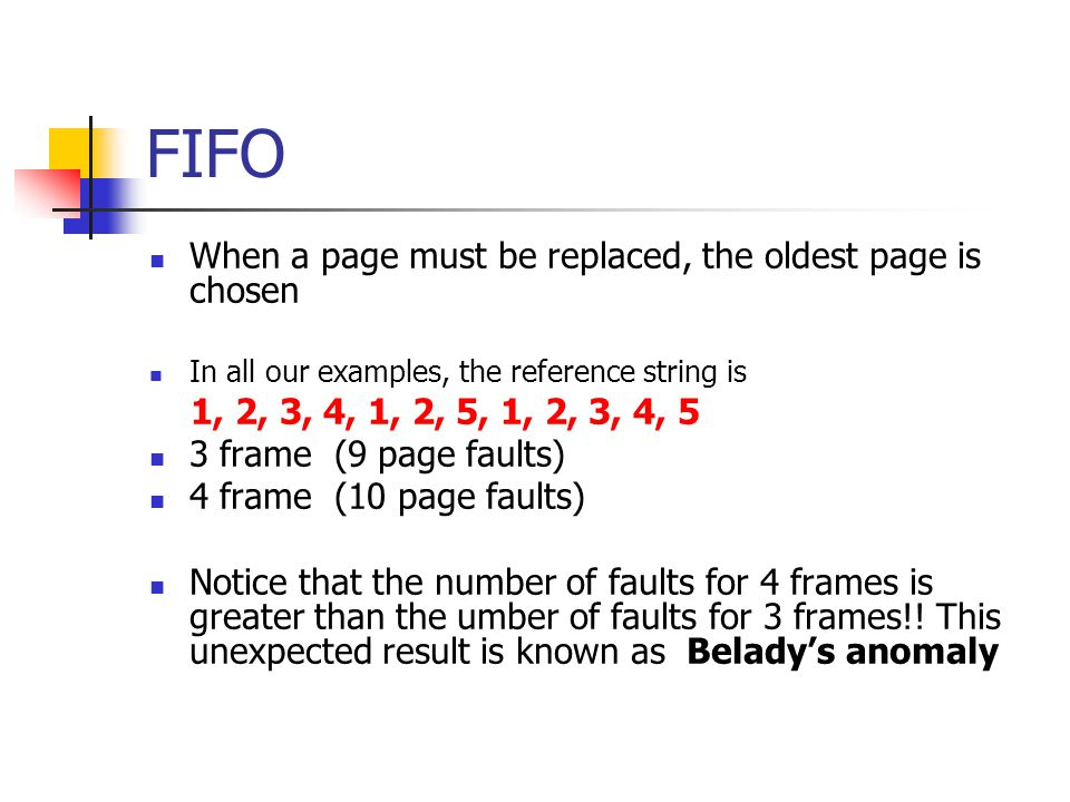 FIFO When a page must be replaced, the oldest page is chosen
