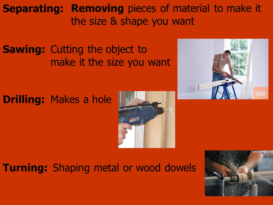 Removing pieces of material to make it the size & shape you want