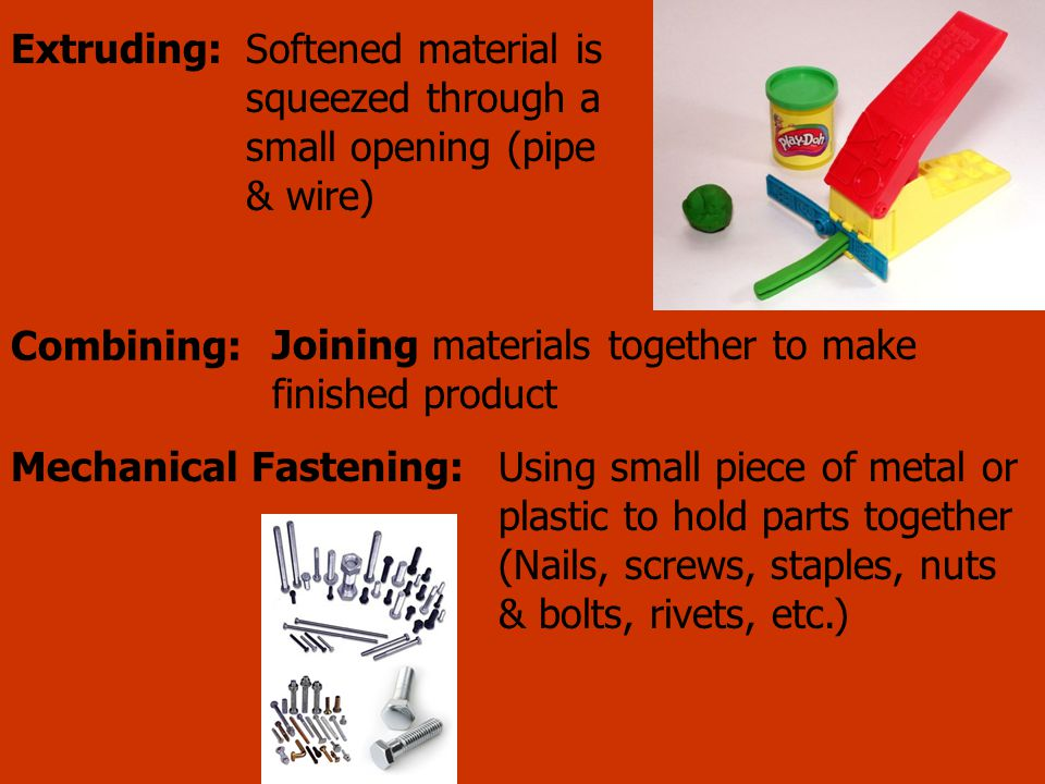 Softened material is squeezed through a small opening (pipe & wire)