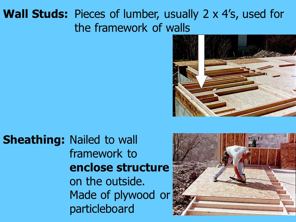 Pieces of lumber, usually 2 x 4's, used for the framework of walls